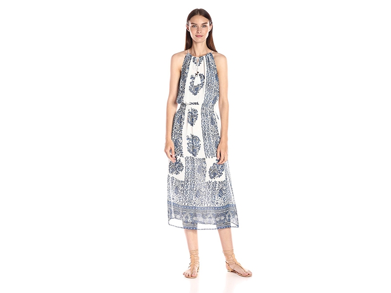 Two by Vince Camuto Caravan Block-Border Halter Midi Dress