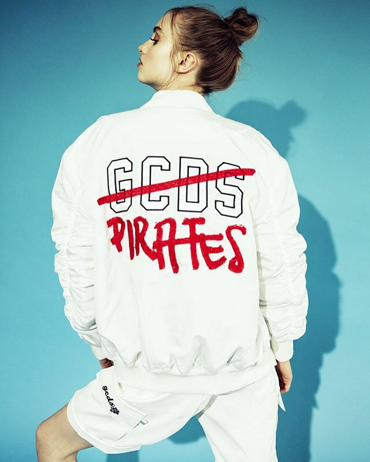 Underwater Love White Milano + Highsnobiety GCDS Embroidered Logo Bomber Jacket_1