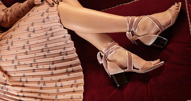 Valentino Ballet Fever Velvet Ankle-Wrap Block-Heel Sandals