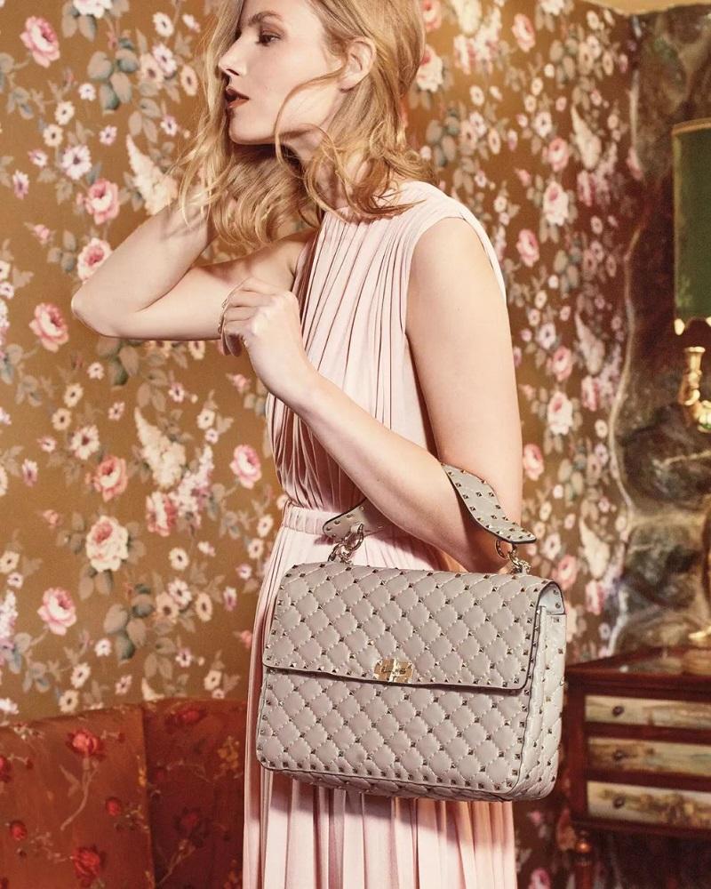 Valentino Rockstud Matelasse Large Shoulder Bag
