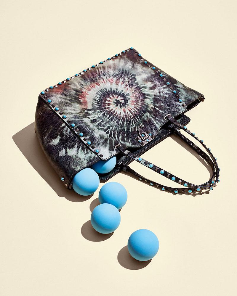Valentino Rolling Rockstud Medium Tie-Dye Tote Bag