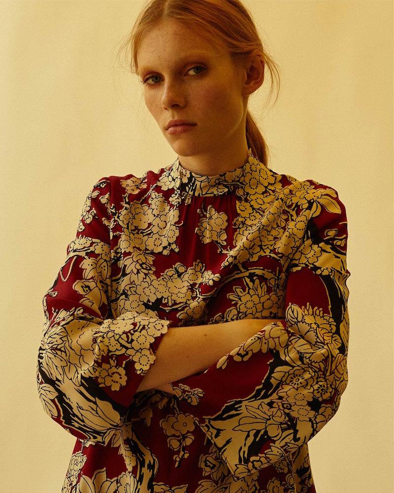 Valentino Short Floral Printed Flared Cuff Dress