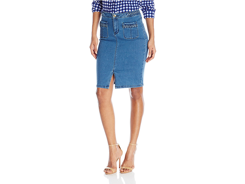 Vero Moda Braided Denim Knee Pencil Skirt