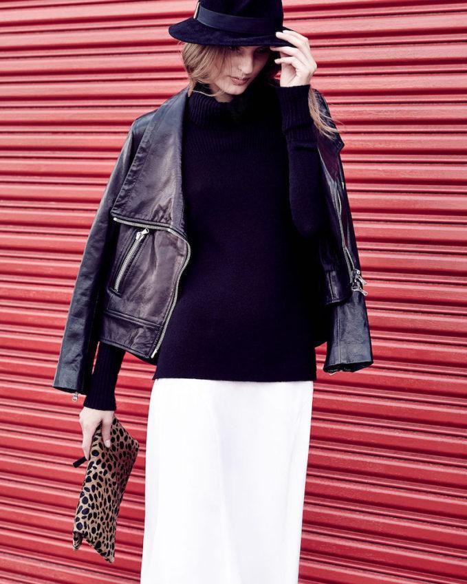 Veronica Beard Mission Leather Swing-Back Moto Jacket
