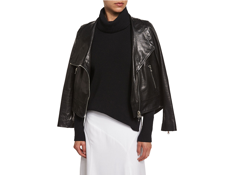 Veronica Beard Mission Leather Swing-Back Moto Jacket_1