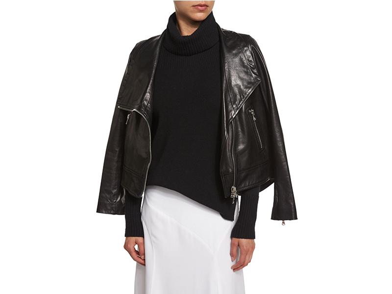 Veronica Beard Mission Leather Swing-Back Moto Jacket_1