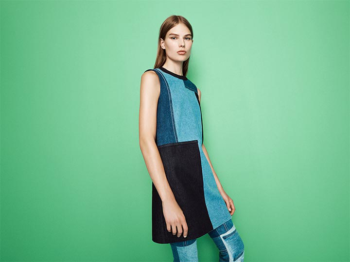 Victoria Victoria Beckham Patchwork Denim Dress