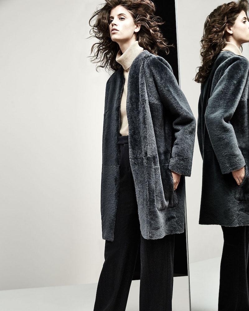 Vince Reversible Shearling Fur Car Coat