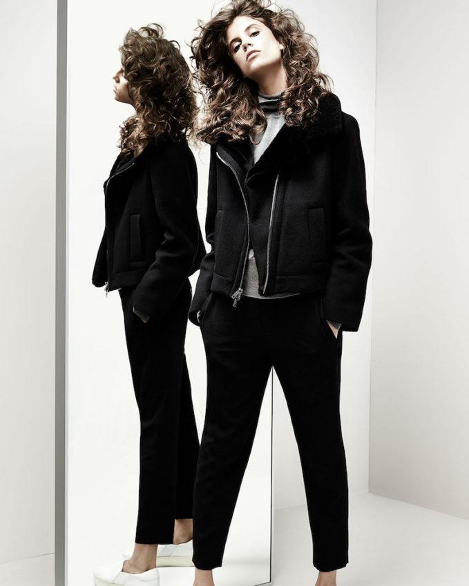 Vince Shearling Fur-Lined Moto Jacket