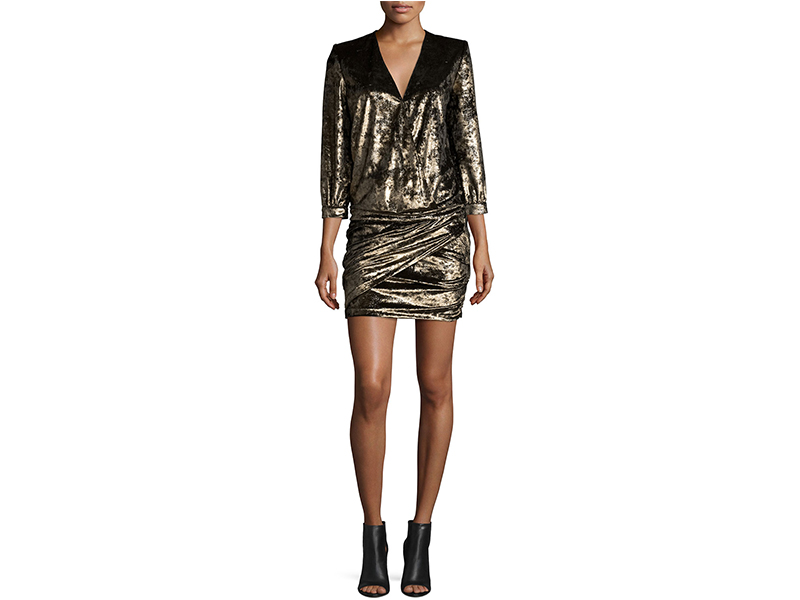 ba&sh Galaxie Metallic Draped-Front Minidress_1