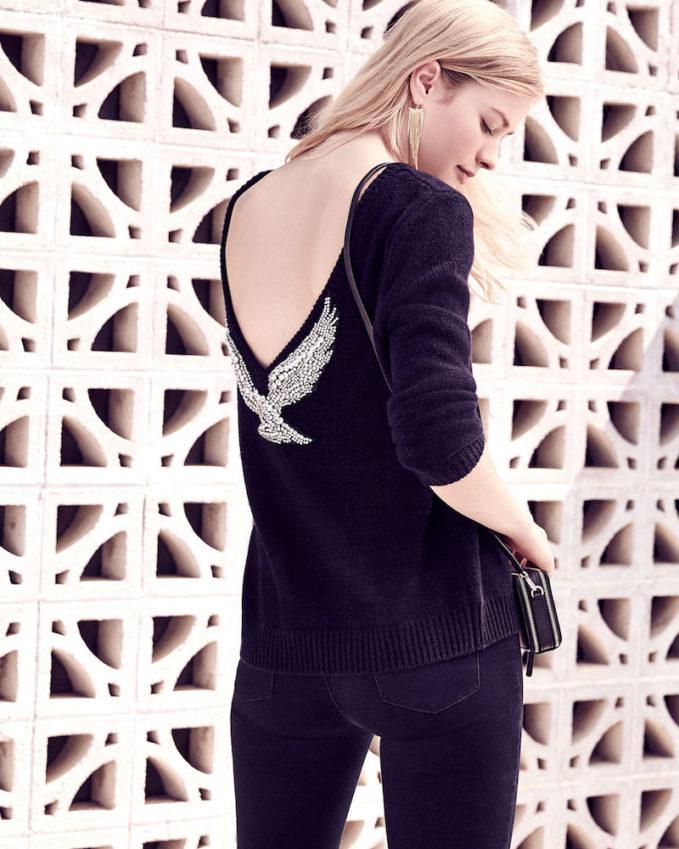ba&sh Opium Embellished V-Back Sweater