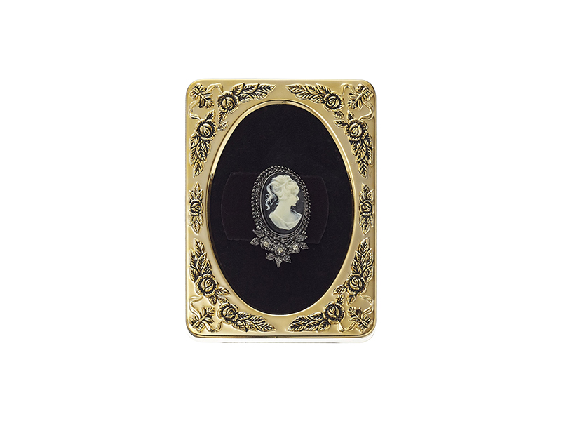 1928 Jewelry Framed Black Tone Black Crystal Cameo Brooch