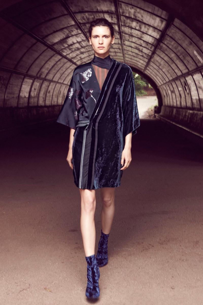 3.1 Phillip Lim Velvet Patchwork Kimono Dress