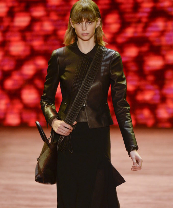 Akris Embroidered Front Leather Jacket