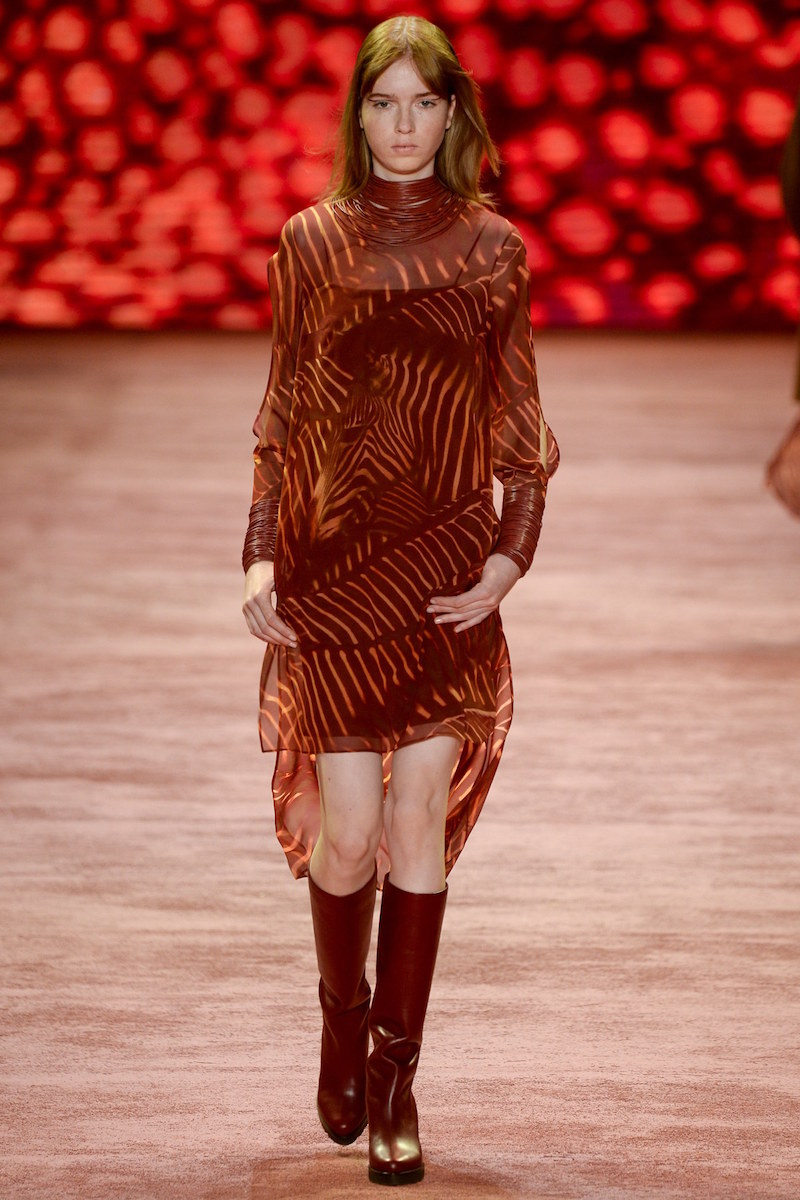Akris Long Sleeve Zebra Print Tunic Dress