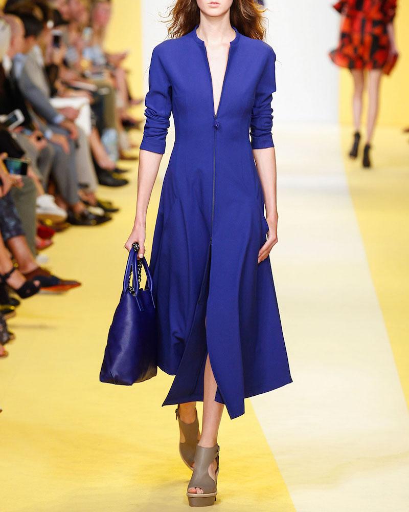 Akris Long-Sleeve Zip-Front Midi Dress