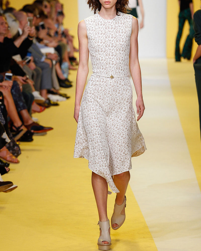 AkrisSleeveless Jacquard A-Line Dress