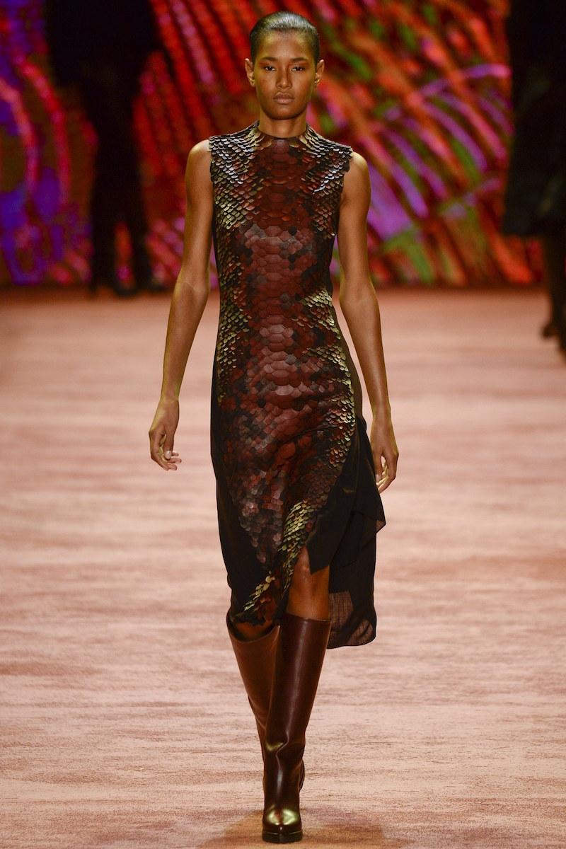 Akris Sleeveless Leather Embellished Combo Dress