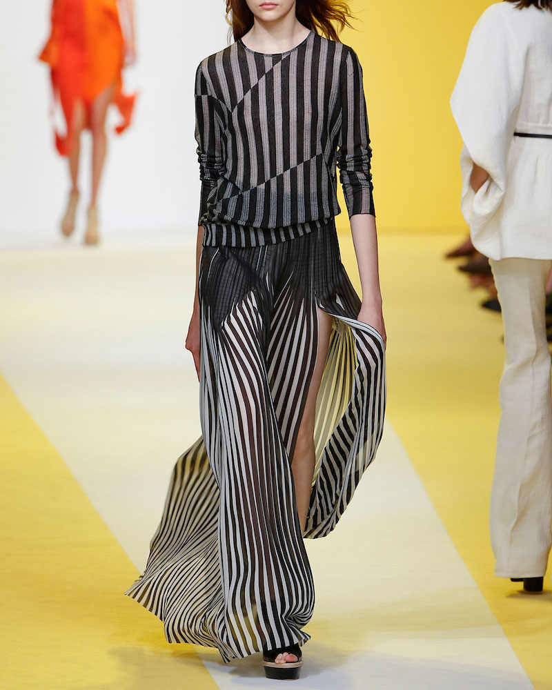 Akris Striped Plissé Silk Maxi Skirt