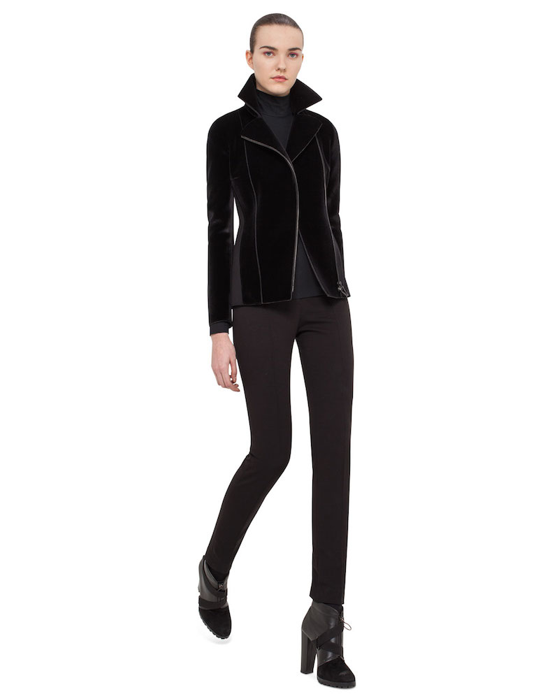 Akris punto Velvet Jersey-Panel Moto Jacket