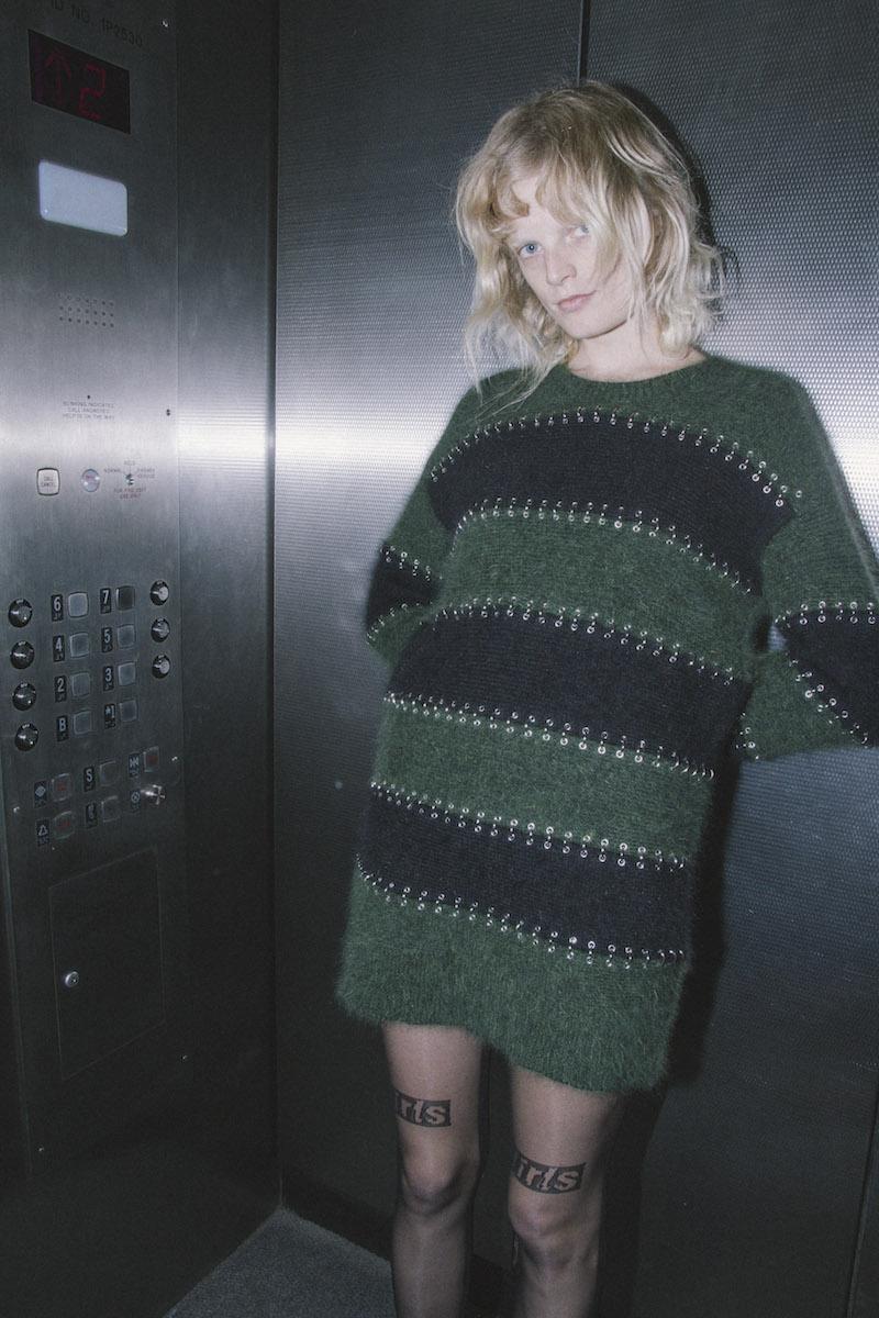 Alexander Wang Pierced Wool & Angora Blend Rugby Dress