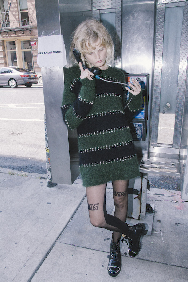 Alexander Wang Pierced Wool & Angora Blend Rugby Dress