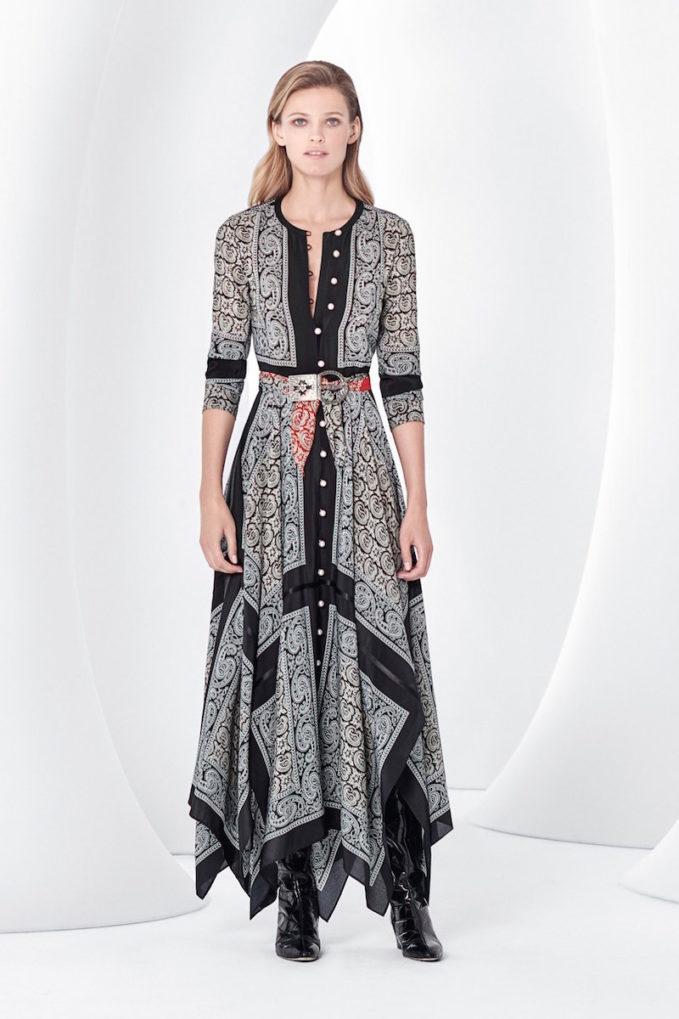 Altuzzara Paisley-print Silk Handkerchief-hem Dress