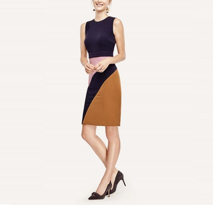 Ann Taylor Abstract Colorblock Sheath Dress