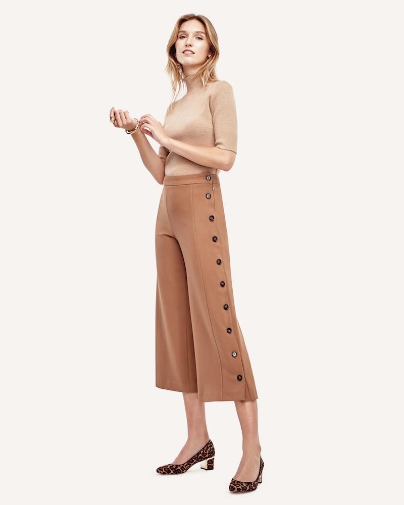 Ann Taylor Side Button Cropped Pants