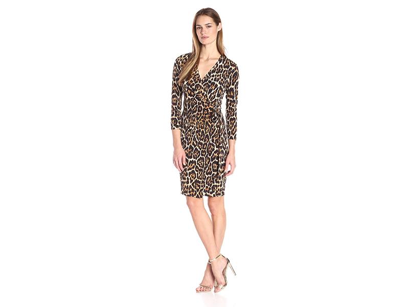Anne Klein Leopard Print Faux Wrap Dress