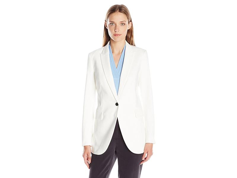 Anne Klein Long Double Weave Single Button Jacket