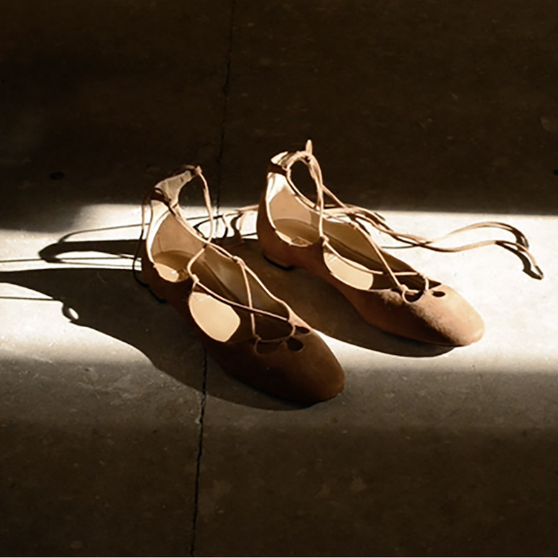 Aquazzura Dancer Wraparound Suede Flats