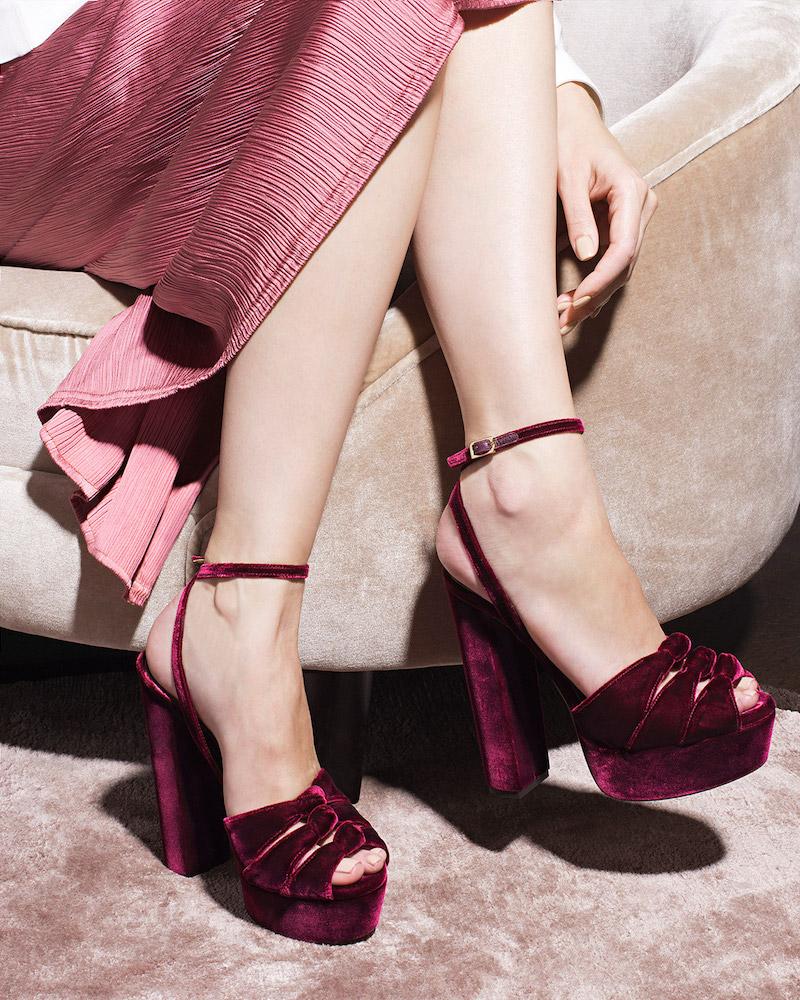 Aquazzura Mira Knot Velvet Platform Sandals