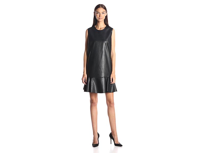 BCBGMax Azria Sheridan Faux Leather Sleeveless Dress