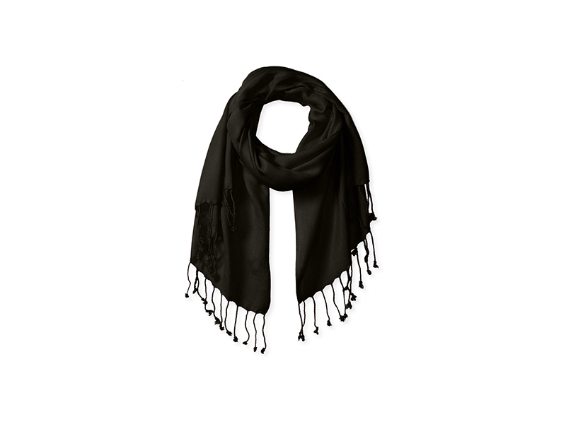 BIG BUDDHA Solid Light Twill Pashmina Wrap Scarf with Fringe
