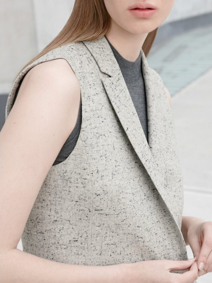BOSS Karana Fleck Twill Sleeveless Jacket