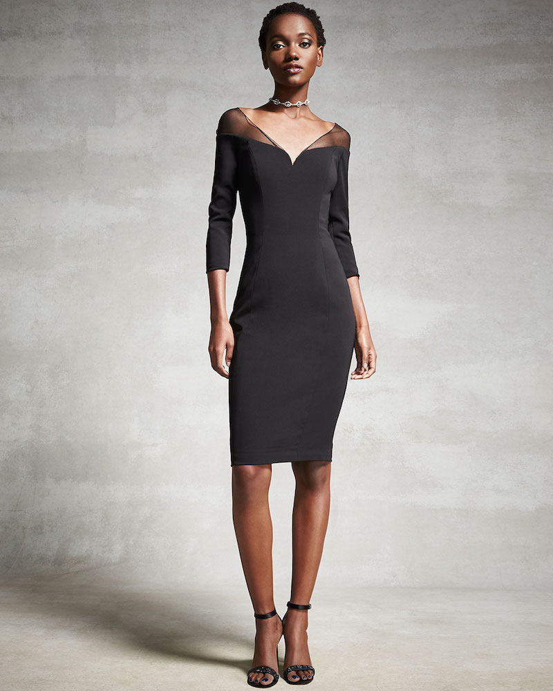 Badgley Mischka 3/4-Sleeve Stretch Jersey Cocktail Dress
