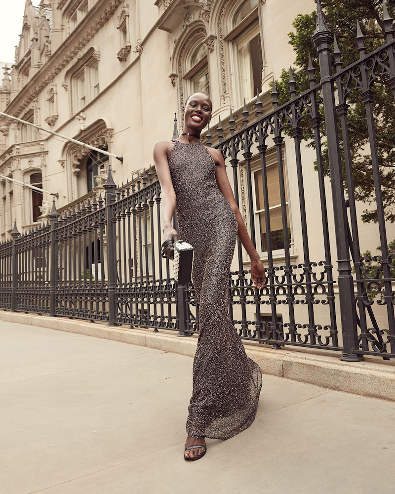 Badgley Mischka Sleeveless Beaded Metallic Column Gown