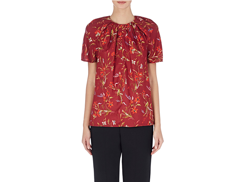 Balenciaga Wildflower Print Pleated Top