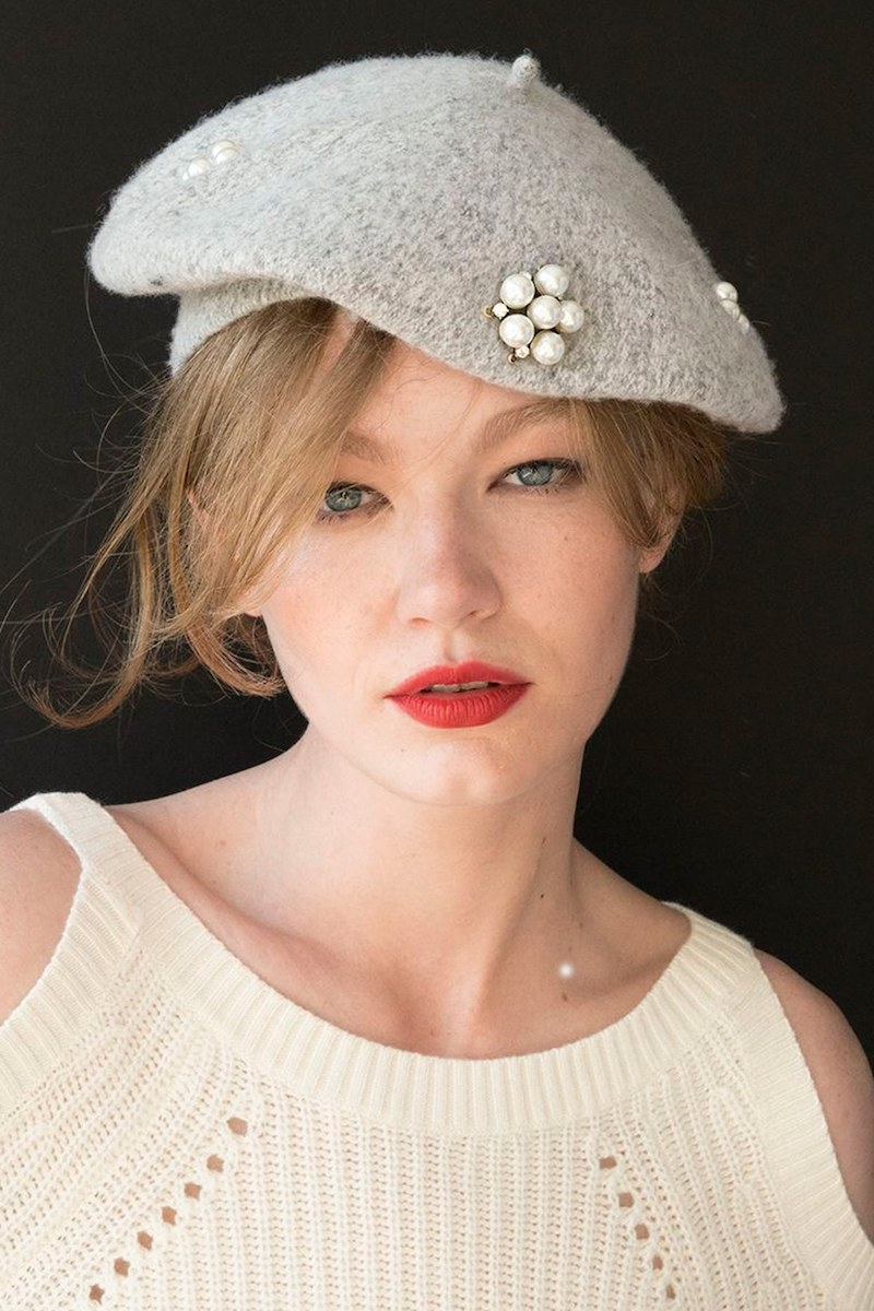 Berry Faux Pearl Beret