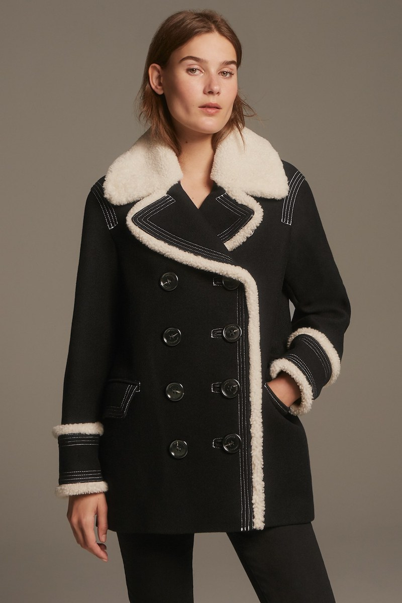 Burberry Colstead Wool Blend Coat with Leather & Genuine Shearling Trim
