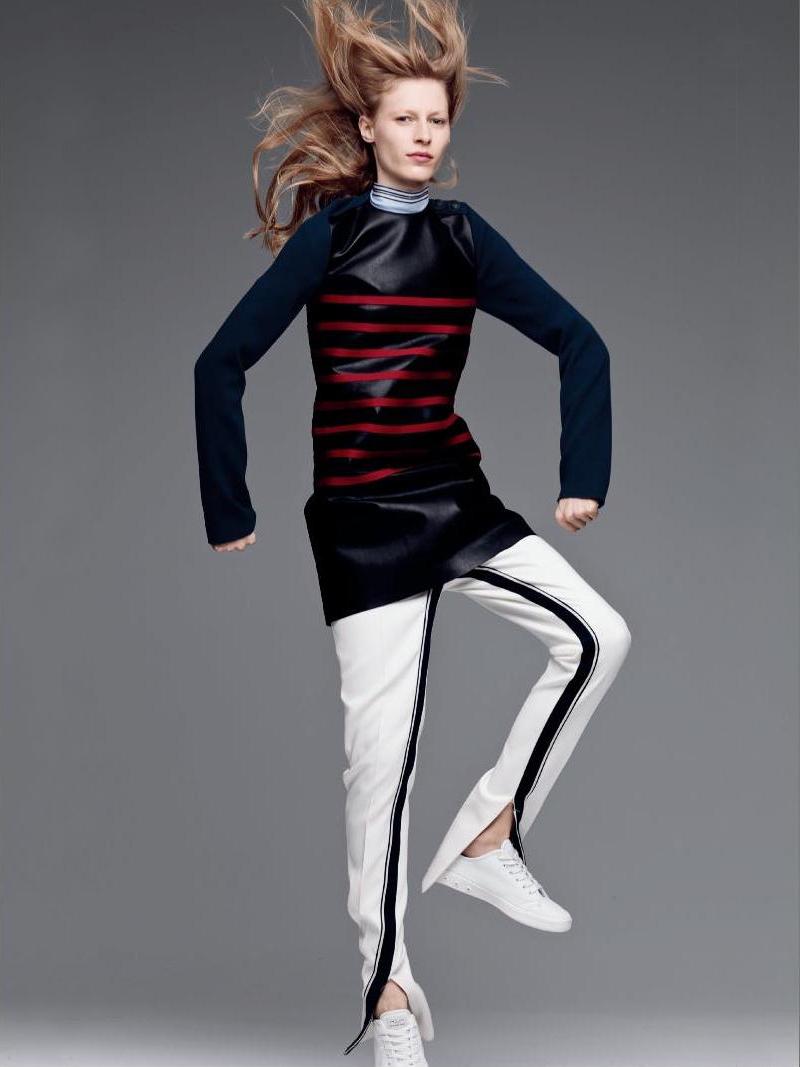 Cèdric Charlier Long Sleeves Striped Short Dress