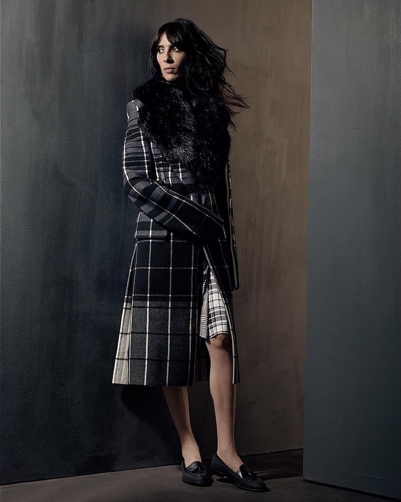 Calvin Klein Collection Leather & Plaid Wool Overcoat