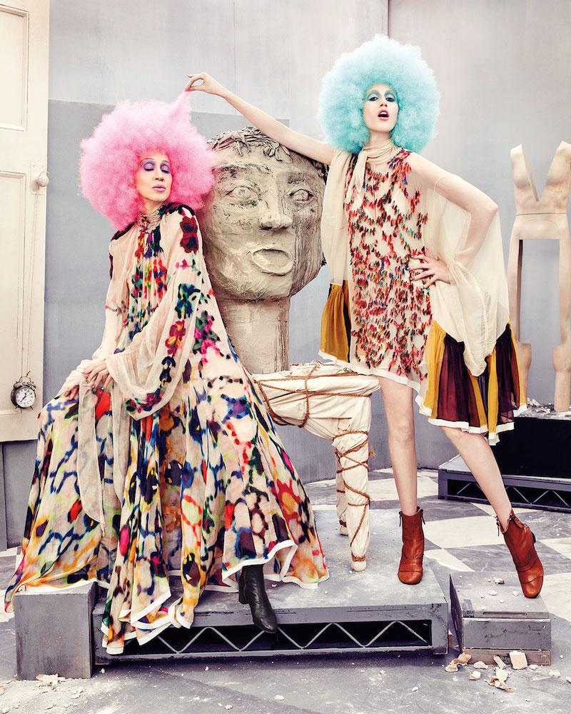 Chloé Long-Sleeve Mock-Neck Inkblot Maxi Dress