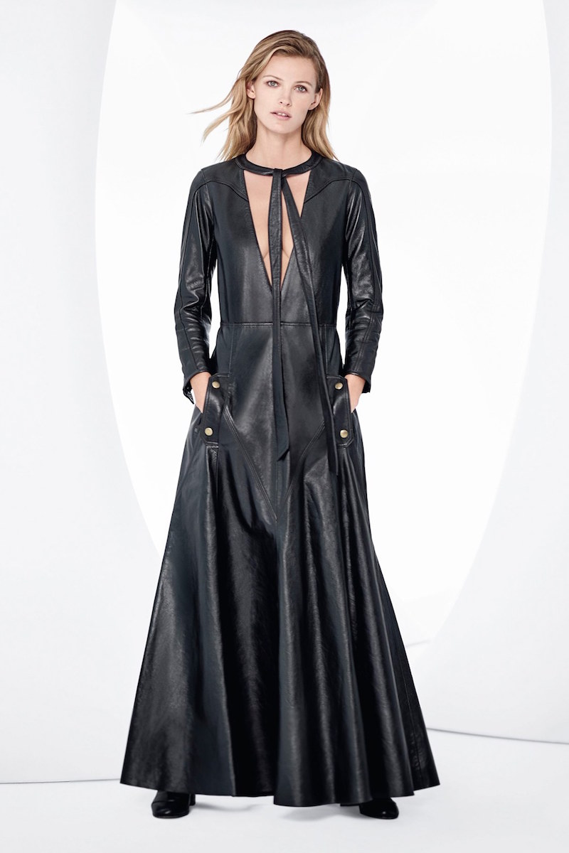 Chloé Tie Neck Calfskin Leather Maxi Dress