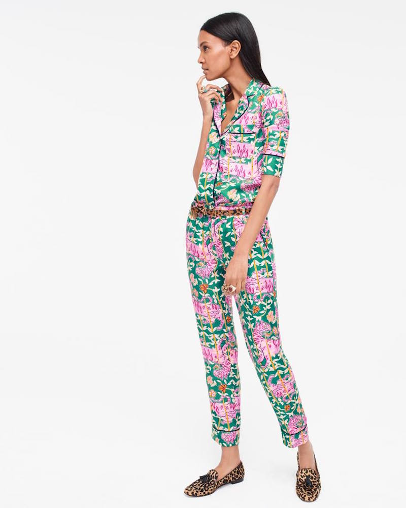 Collection Drake's For J.Crew Pajama Top In Green Bengal Tiger