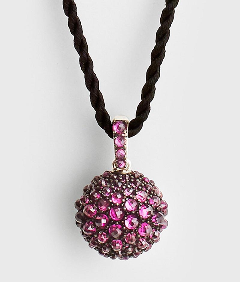David Yurman 20mm Osetra Faceted Garnet Pendant Necklace