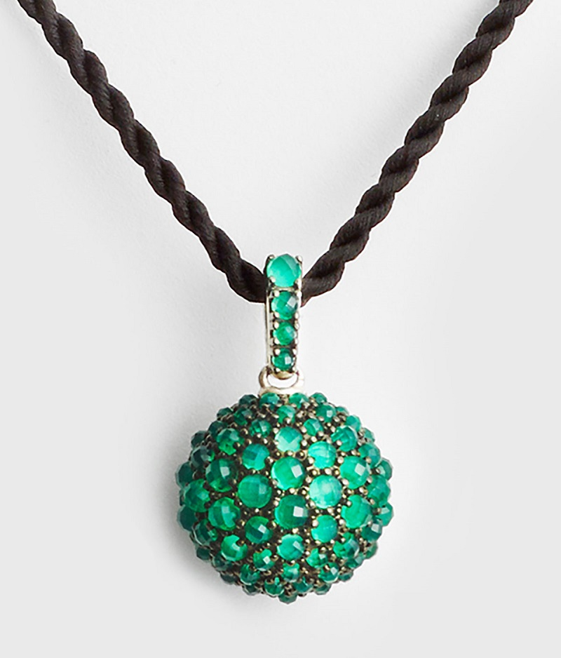 David Yurman 20mm Osetra Faceted Green Onyx Pendant Necklace
