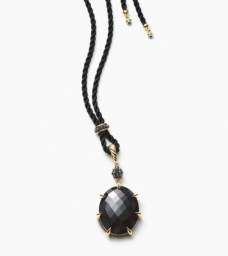 David Yurman Osetra Black Onyx & Hematine Pendant Necklace