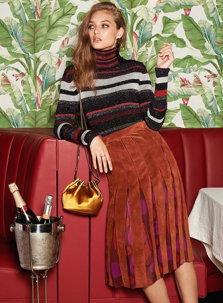 Diane von Furstenberg Melita Suede Pleated Skirt
